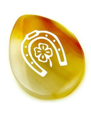 Agate Good Luck Talisman Word Stone Lucky Clover Horse Shoe