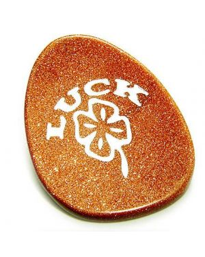 Gold Stone Good Luck Talisman Word Stone Lucky Clover
