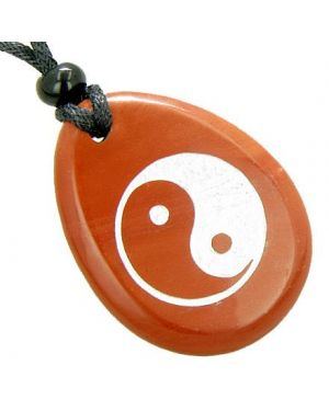 Lucky Ying Yang Balance Amulet Believe Word Stone Necklace