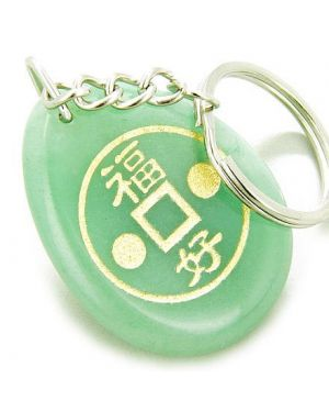 Fortune Lucky Coin Circle Aventurine Amulet Word Stone Keychain