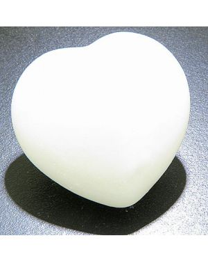 Good Luck Talisman White Jade Gemstone Puffy Heart