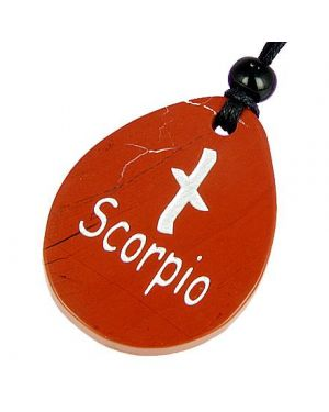 A Red Jasper Scorpio Lucky Astrological Rune Necklace