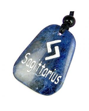 A Sodalite Sagittarius Lucky Astrological Rune Necklace
