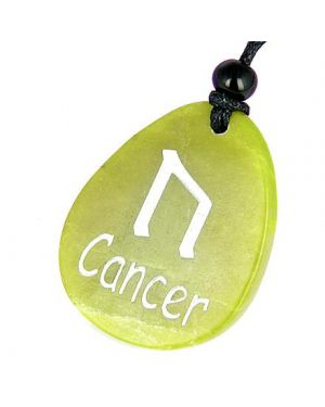 A Green Jade Cancer Lucky Astrological Rune Necklace