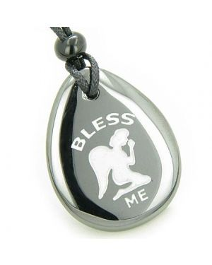 Bless Me Praying Guardian Angel Amulet Hematite Lucky Wish Stone Necklace