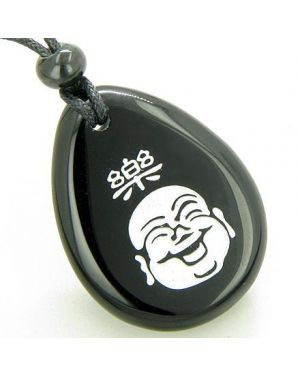 Good Luck Charm Happy Buddha Face Amulet Black Onyx Lucky Wish Stone Pendant Necklace
