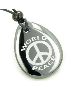Amulet Lucky World Peace Hematite Wish Stone Pendant Necklace