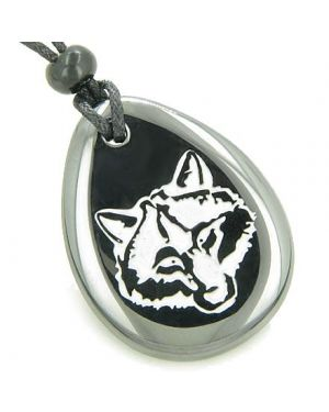 Lucky and Protection Wolf Head Amulet Hematite Wish Stone Pendant Necklace