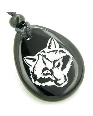 Lucky and Protection Wolf Head Amulet Black Onyx Wish Stone Pendant Necklace