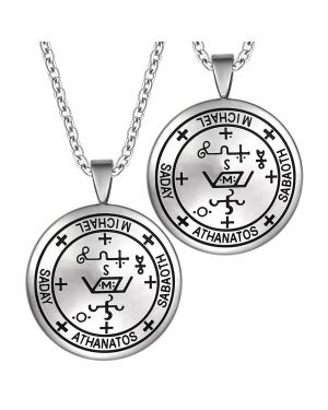 Archangel Michael Sigil Amulet Keep Me Safe and Positive Inscription Prayer Love Couples Necklaces