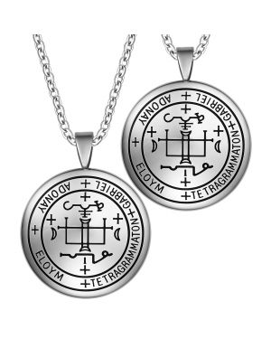 Archangel Gabriel Sigil Amulet Keep Me Safe and Positive Inscription Prayer Love Couples Necklaces