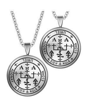 Archangel Uriel Sigil Amulet Keep Me Safe and Positive Inscription Prayer Love Couples Necklaces