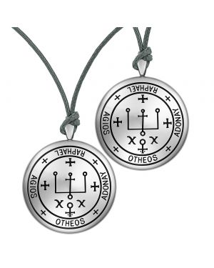 Archangel Raphael Sigil Amulet Keep Me Safe and Positive Prayer Love Couples Adjustable Necklaces