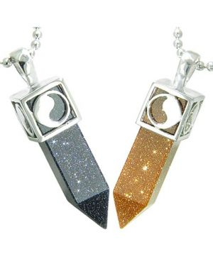 Positive Energy Yin Yang Love Couple Set Magic Amulets Crystal Points Blue Gold Stone Necklaces