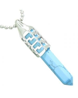 Positive Energy Magic Powers Secret Amulet Crystal Point Lucky Charm Turquoise Pendant Necklace