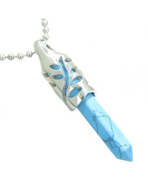 Positive Energy Magic Powers Leaf Amulet Crystal Point Lucky Charm Turquoise Pendant Necklace