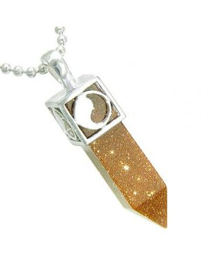 Positive Energy Magic Powers Yin Yang Amulet Crystal Point Lucky Charm Gold Stone Pendant Necklace