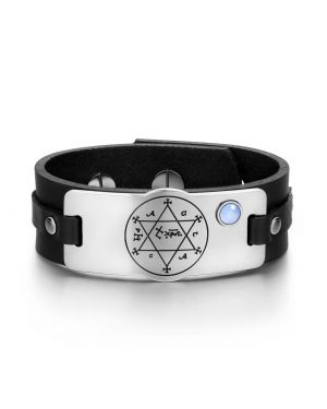 King of Solomon Circle Pentacle Hexagram Amulet Blue Simulated Cats Eye Black Leather Bracelet
