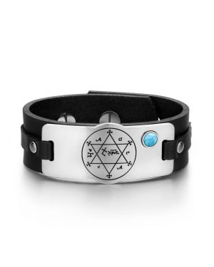 King of Solomon Circle of Pentacle Hexagram Amulet Simulated Turquoise Black Leather Bracelet