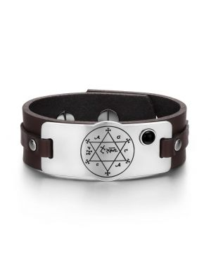 King of Solomon Circle of Pentacle Hexagram Amulet Simulated Onyx Adjustable Brown Leather Bracelet