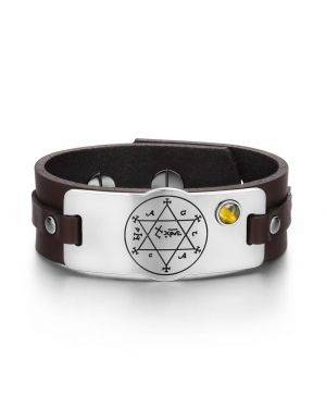 King of Solomon Circle of Pentacle Hexagram Amulet Tiger Eye Gemstone Brown Leather Bracelet