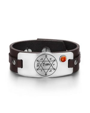 King of Solomon Circle of Pentacle Hexagram Amulet Red Jasper Gemstone Brown Leather Bracelet