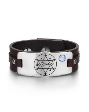 King of Solomon Circle Pentacle Hexagram Amulet Blue Simulated Cats Eye Brown Leather Bracelet