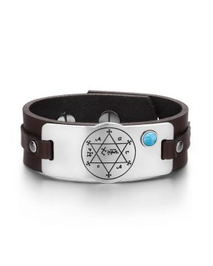 King of Solomon Circle of Pentacle Hexagram Amulet Simulated Turquoise Brown Leather Bracelet