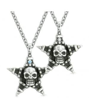 All Seeing Skull Star Pentacle Love Couples or Best Friends Blue White Crystals Amulet Necklaces