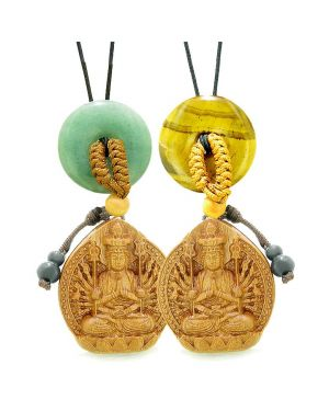 Kwan Yin Quan Car Charm Home Decor Green Quartz Tiger Eye Donuts Love Couples Best Friends Amulets