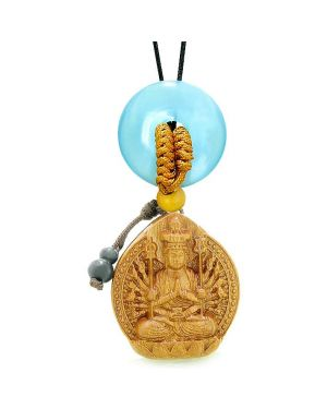 Kwan Yin Quan Fortune Car Charm Home Decor Blue Simulated Cats Eye Lucky Coin Donut Amulet