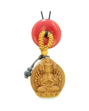 Kwan Yin Quan Car Charm or Home Decor Cherry Red Quartz Lucky Coin Donut Protection Powers Amulet