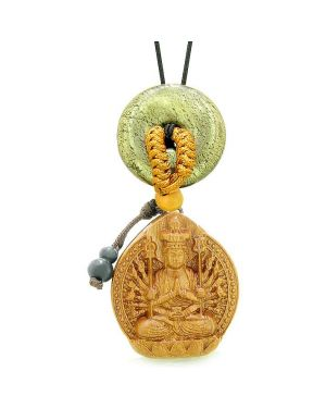 Kwan Yin Quan Fortune Car Charm Home Decor Golden Pyrite IrLucky Coin Donut Protection Amulet