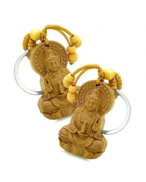 Amulet Kwan Yin Quan Blooming Lotus Magical Powers Charms Feng Shui Keychain Set Blessings