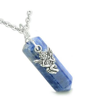 Amulet Archangel Gabriel Magic Crystal Point Sodalite Gem Spiritual Energy Pendant Necklace