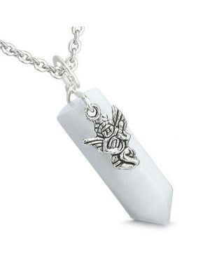 Amulet Archangel Zadkiel Magic Crystal Point Jade Positive Spiritual Energy Pendant Necklace