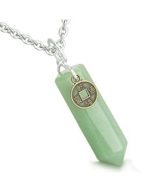 Amulet Lucky Charm Coin Crystal Point Aventurine Gem Good Luck Positive Energy Pendant Necklace