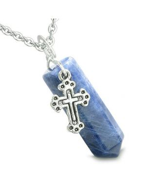 Amulet Crystal Point Holy Cross Charm Sodalite Gemstone Positive Spiritual Pendant Necklace