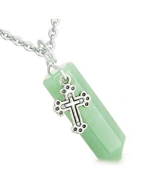 Amulet Crystal Point Holy Cross Charm Green Aventurine Positive Spiritual Pendant Necklace