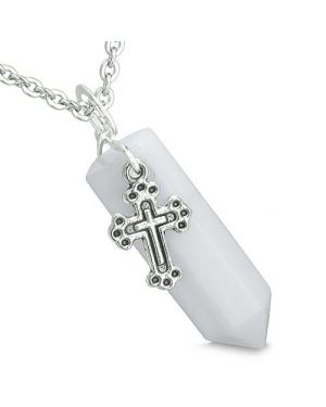Amulet Crystal Point Holy Cross Charm White Jade Gemstone Positive Spiritual Pendant Necklace