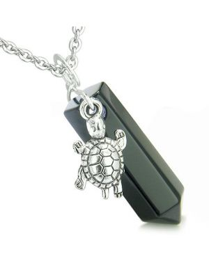 Amulet Turtle Lucky Charm Crystal Point Onyx Gemstone Spiritual Positive Energy Pendant Necklace