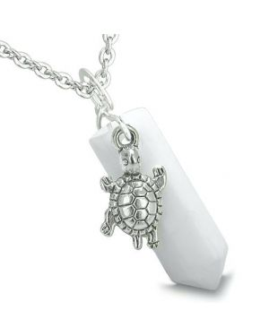 Amulet Turtle Lucky Charm Crystal Point White Jade Evil Eye Protection Energy Pendant Necklace