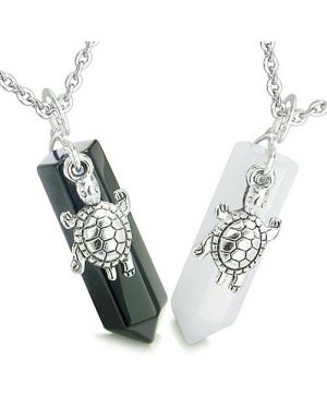 Amulets Energy Love Couple Best Friends Lucky Turtles Crystal Points Jade Black Pendants Necklaces