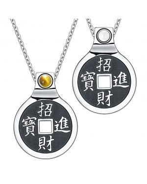 Yin Yang Amulets Love Couple Feng Shui Lucky Coins Kanji Magic Tiger Eye White Cats Eye Necklaces