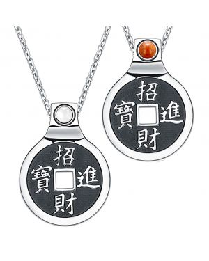 Yin Yang Amulets Love Couple Feng Shui Lucky Coins Kanji Magic Red Jasper White Cats Eye Necklaces