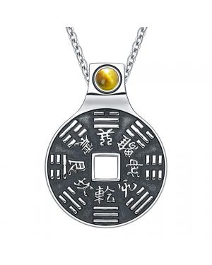 """Yin Yang Lucky Coin Amulet BaGua Magic Kanji Forces of Nature Powers Tiger Eye 22"""" Necklace"""