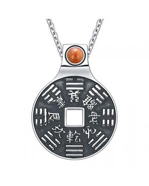 """Yin Yang Lucky Coin Amulet BaGua Magic Kanji Forces of Nature Powers Red Jasper 22"""" Necklace"""
