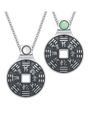 Yin Yang Amulets Love Couple BaGua Forces of Nature Coins Green Quartz White Cats Eye Necklaces