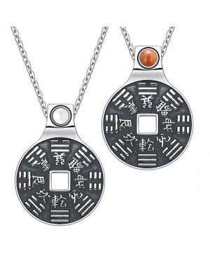 Yin Yang Amulets Love Couple BaGua Forces of Nature Lucky Coins Red Jasper White Cats Eye Necklaces