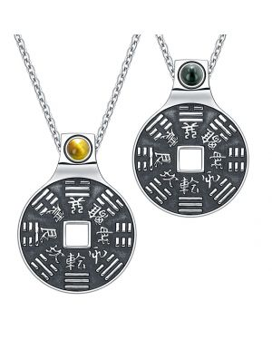 Yin Yang Amulets Love Couple BaGua Forces of Nature Lucky Coins Tiger Eye Simulated Onyx Necklaces